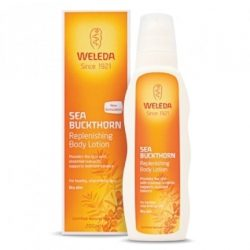 Bottle of Weleda Sea Buckthorn Body Lotion (200ml) and packaging