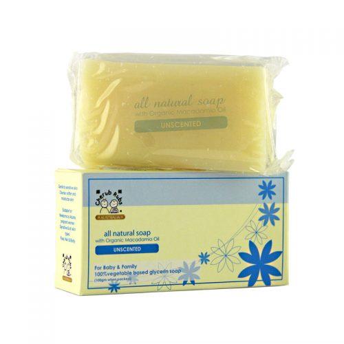 Bar and box of Cherub Rubs - Organic Soap Unscented, 100g