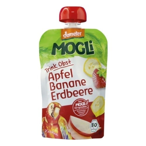 Packet of Mogli Organic Moothies - Apple, Banana & Strawberry Smoothie (Demeter), 100g