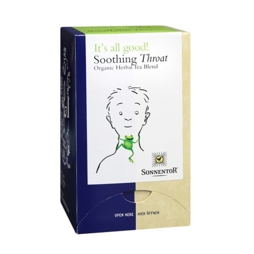 Front view of Sonnentor Soothing Throat tea blend package