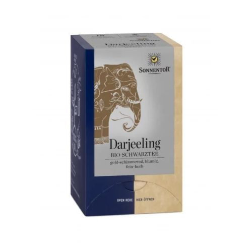 Front view of a box of Sonnentor Organic Darjeeling Black Tea, 18 tea bags