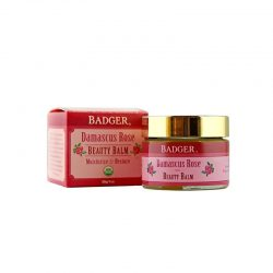 Container and box of Badger Organic Damascus Rose Beauty Balm, 28g