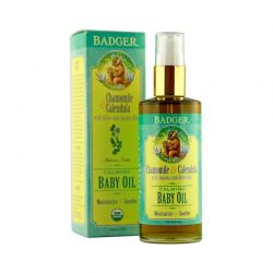 Bottle and box of Badger Organic Chamomile & Calendula Baby Oil, 118ml