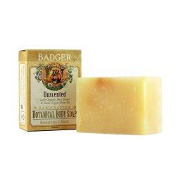 Bar and box of Badger Organic Unscented Botanical Body Soap, 4oz