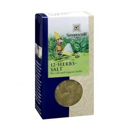 Front view of package of Sonnentor 12-Herbs and Salt Herbal Blend