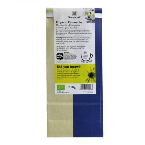 Back view of a packet of Sonnentor Organic Camomile Tea (50g)