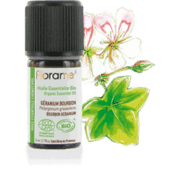 Bottle of Florame Organic Bourbon Geranium EO, 5ml