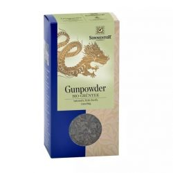 Front view of a box of Sonnentor Organic Chinese Green Tea Gunpowder, 100g