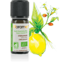 Bottle of Florame Organic Lemon Express Essential Oil, 10ml