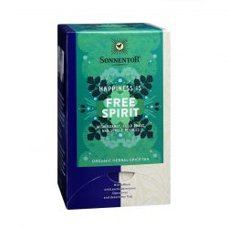 """Front view of Sonnentor """"Happiness is... Free Spirit"""" tea blend package"""