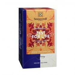"""Front view of Sonnentor Sonnentor """"Happiness is... Zest for Life"""" Tea Blend Package"""