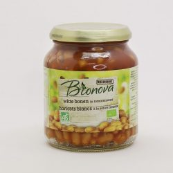 Container of Bionova organic baked beans