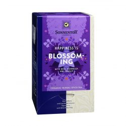 Front view of a box of Sonnentor Happiness is… Blossoming Tea Blend