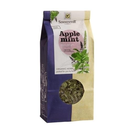 Front view of a packet of Sonnentor Organic Applemint Tea (50g)