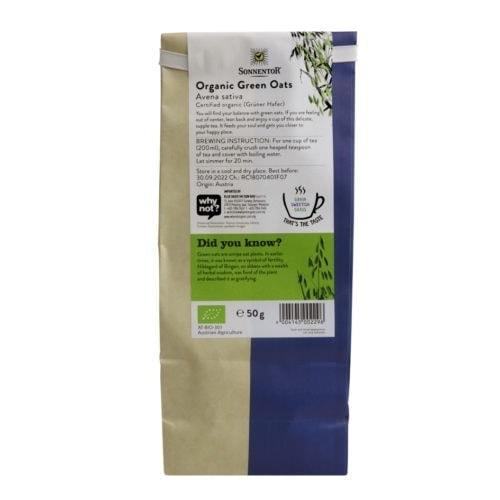 Back view of a packet of Sonnentor Organic Green Oats Tea (50g)