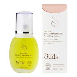Bottle and box of Buds Cherished Organics - Breast Massage Oil (30ml)
