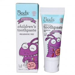 Tube and box of Buds Oralcare Organics - Children's Toothpaste with Xylitol - Blackcurrant (50ml)