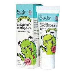 Tube of Buds Oralcare Organics - Children's Toothpaste with Xylitol - Green Apple (50ml)