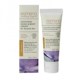 Bottle and box of Esmeria Soothing Hand & Body Cream for Sensitive Skin