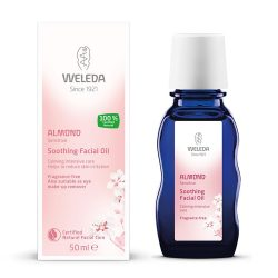 Box and bottle of Weleda Almond Soothing Facial Oil (50ml)