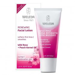 Tube of Weleda Wildrose Smoothing Lotion 30ml and packaging