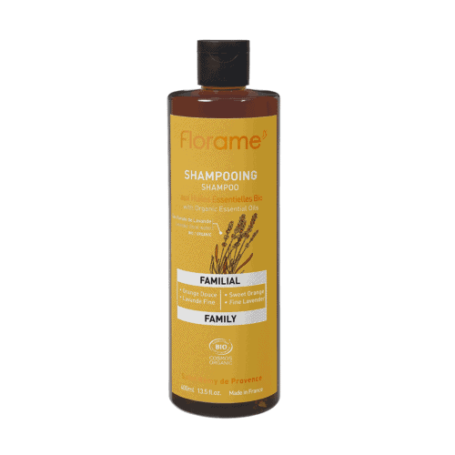 Bottle of Florame Organic Family Shampoo, 400ml